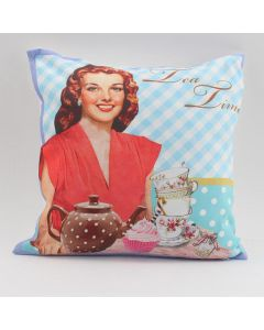 INART ΜΑΞΙΛΑΡΙ ΓΑΛΑΖΙΟ VINTAGE-TEA TIME 40X40Χ3 (100% SYNTH.SUEDE) 3-40-865-0064