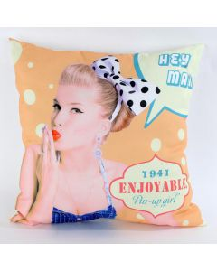 INART ΜΑΞΙΛΑΡΙ ΥΦΑΣΜ ΡΟΖ PIN UP 45X45 (100 %POLYESTER) 3-40-104-0093